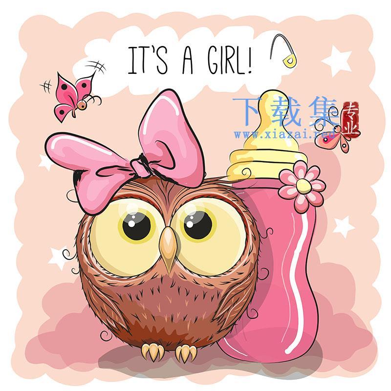 粉红色奶瓶和可爱猫头鹰矢量素材