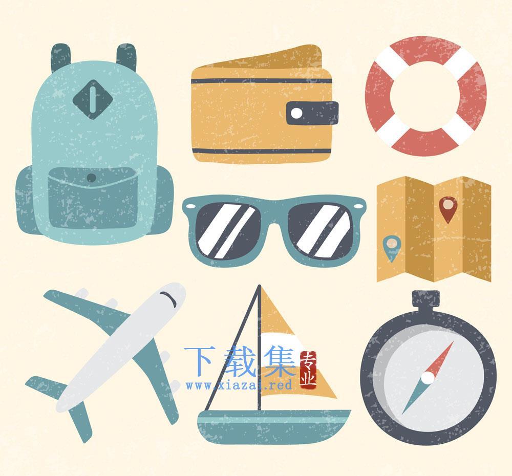 8款老式怀旧旅行用品旅游矢量元素