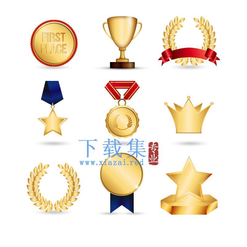9个金奖杯及奖牌AI矢量素材  第1张
