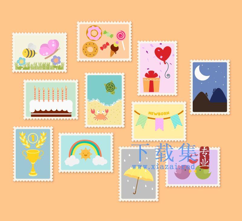11个儿童邮票设计AI矢量图