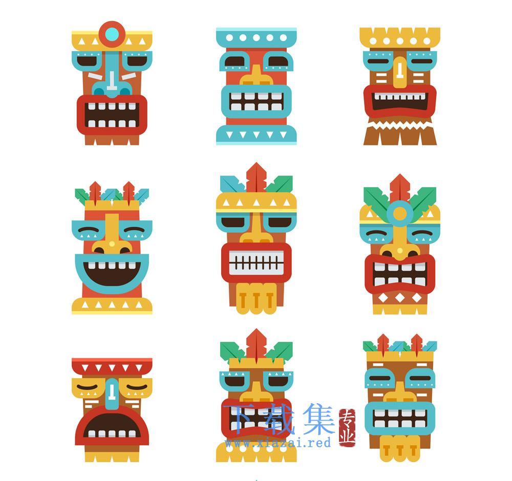9个表情的夏威夷风格面具矢量素材