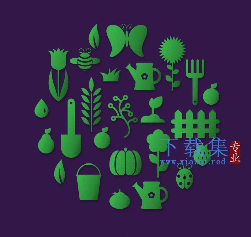 24个花园元素,花园用品AI矢量图标  第1张
