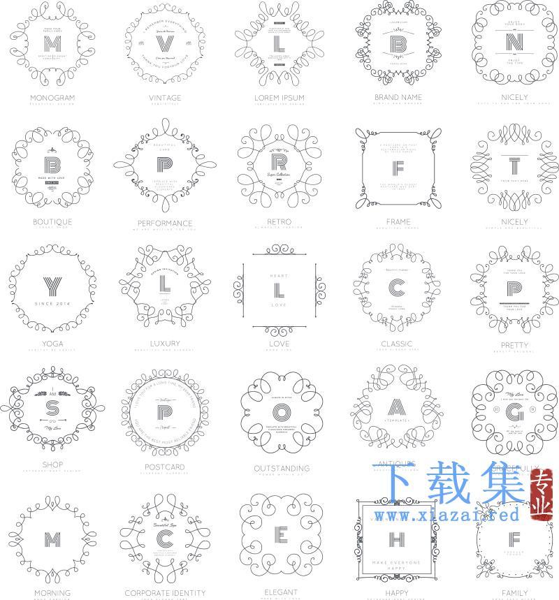 复古花纹字母矢量标签