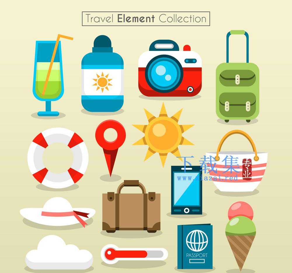 15款创意旅游元素图标AI矢量素材