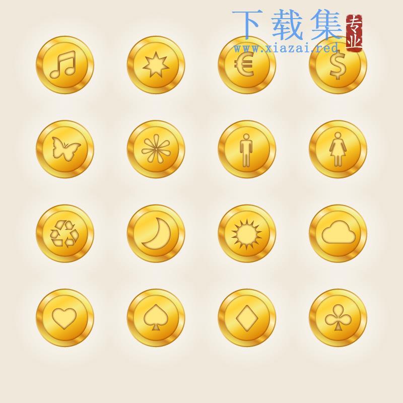 16个金色圆形图标AI矢量元素  第1张