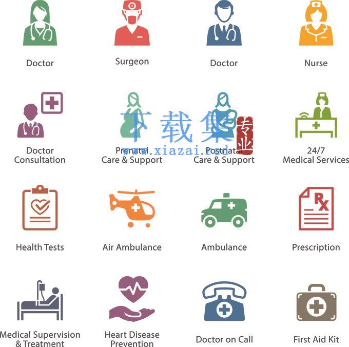 医院医生护士孕妇和急救元素图标EPS矢量模板