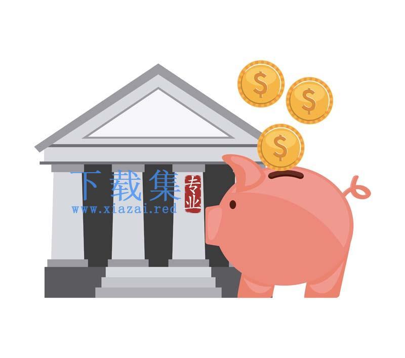 金融理财存钱储蓄罐矢量图标