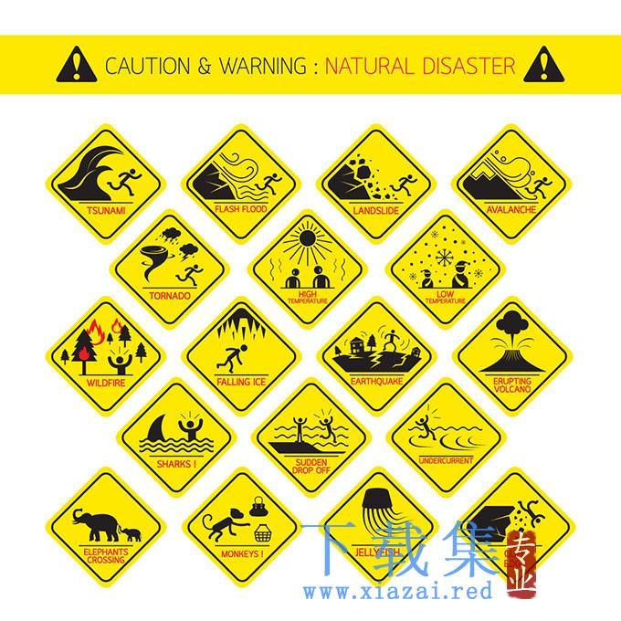 黄色安全警告图标EPS矢量素材  第1张
