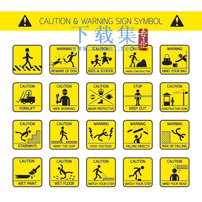 黄色正方形安全警告标志EPS矢量素材  第1张