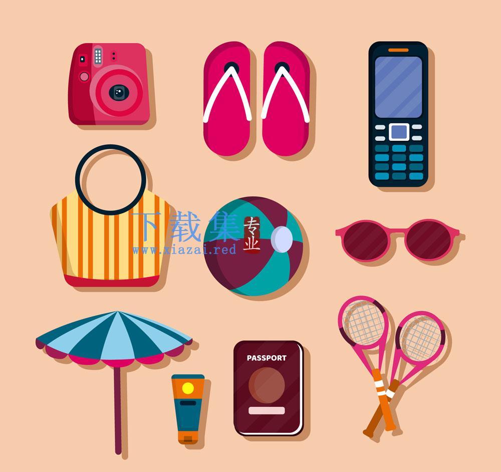 10款生活渡假旅行用品矢量素材