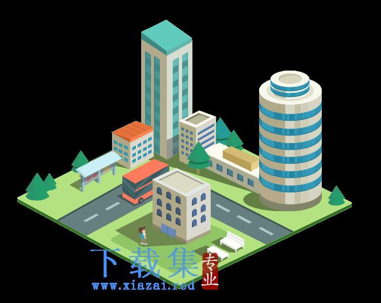 扁平化3D城市建筑等距PNG免抠图