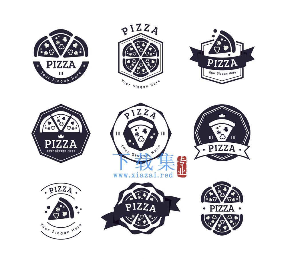9款黑色披萨标志矢量素材