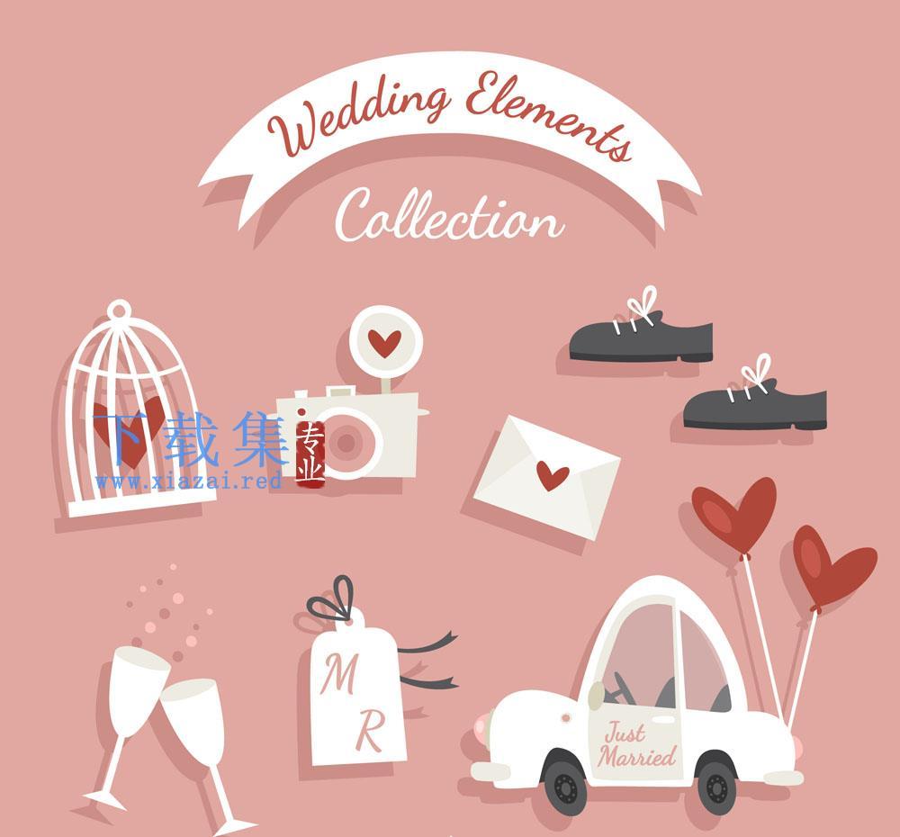 7款创意婚礼元素矢量素材