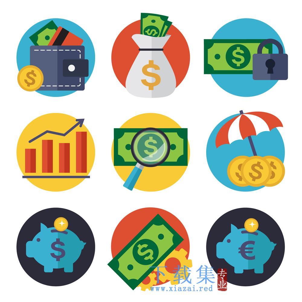9个创意金融AI元素图标矢量