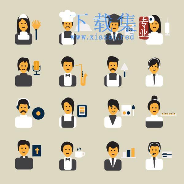16个不同职业角色AI&EPS矢量图标  第1张