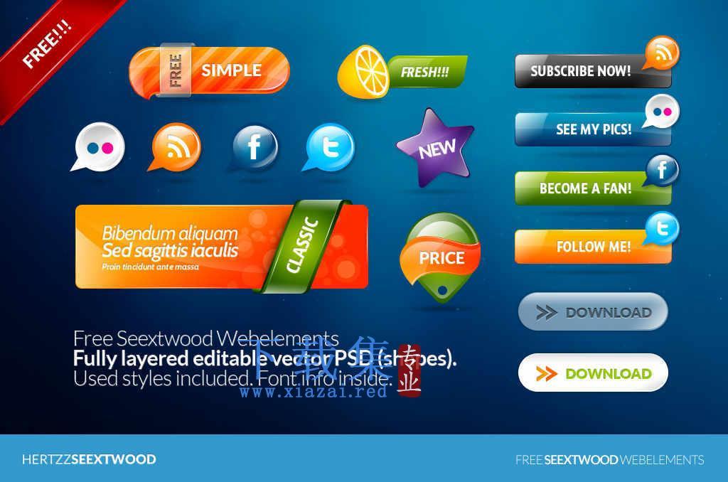 一套网页设计网络PSD元素