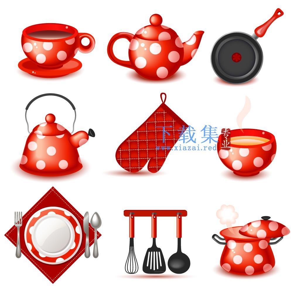 9个可爱红色喜庆厨具矢量图  第1张