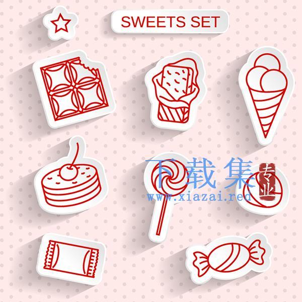 9个美味的甜点贴纸EPS矢量图标  第1张
