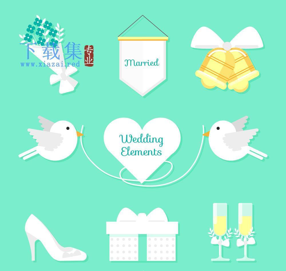 8个白色扁平化婚礼矢量元素