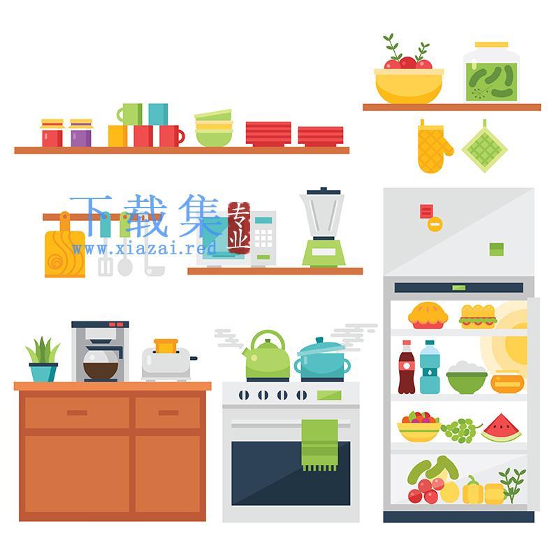 厨房用品,厨房餐具摆放的EPS矢量素材  第1张