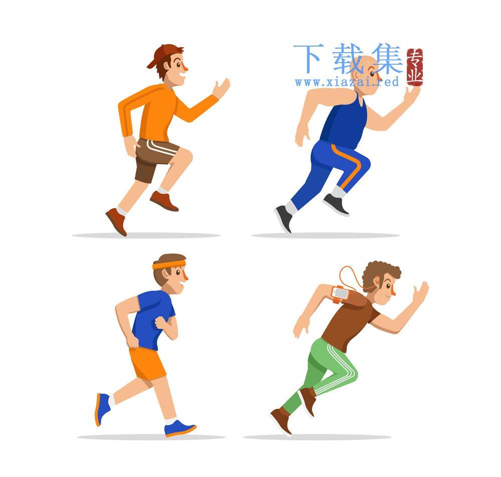 4款创意男士跑步健身矢量素材