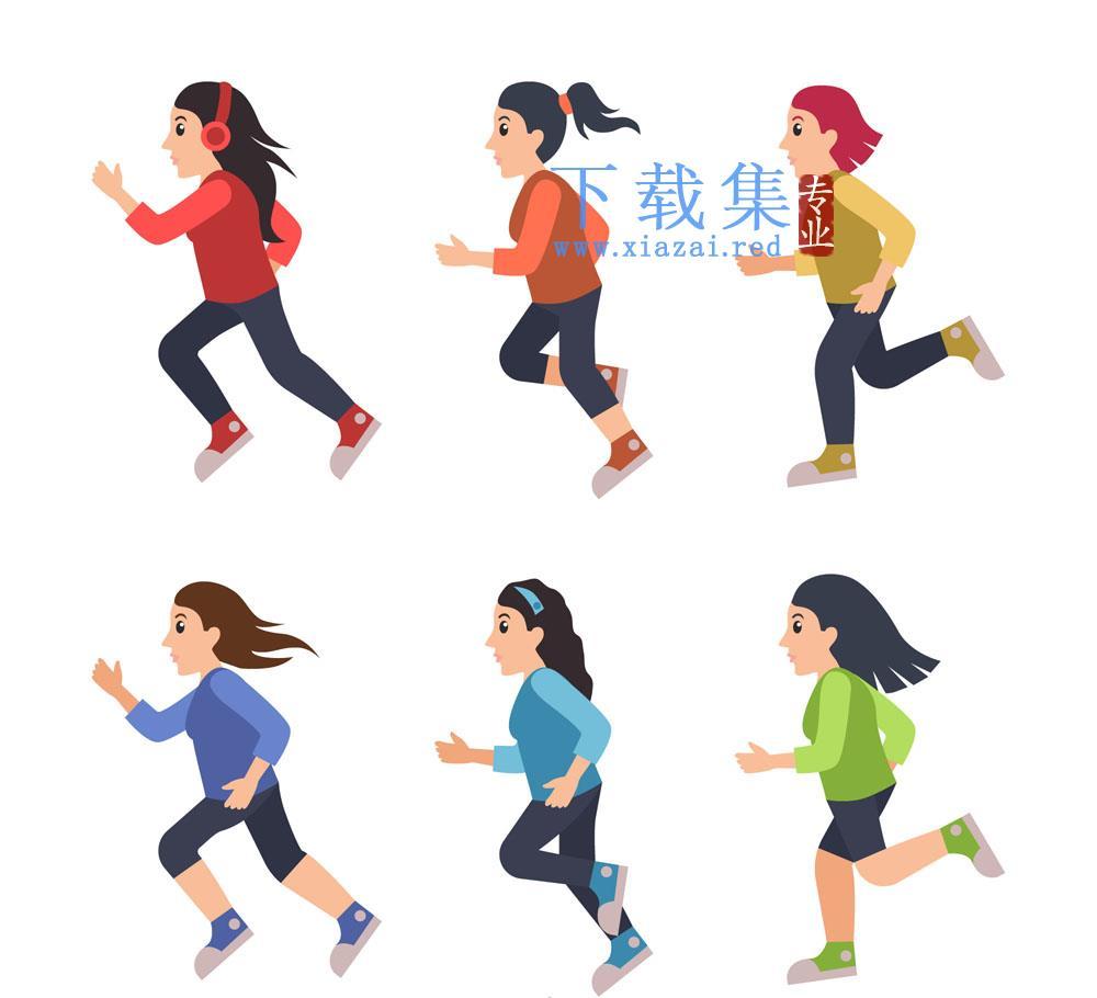 6个女性创意跑步健身矢量模板