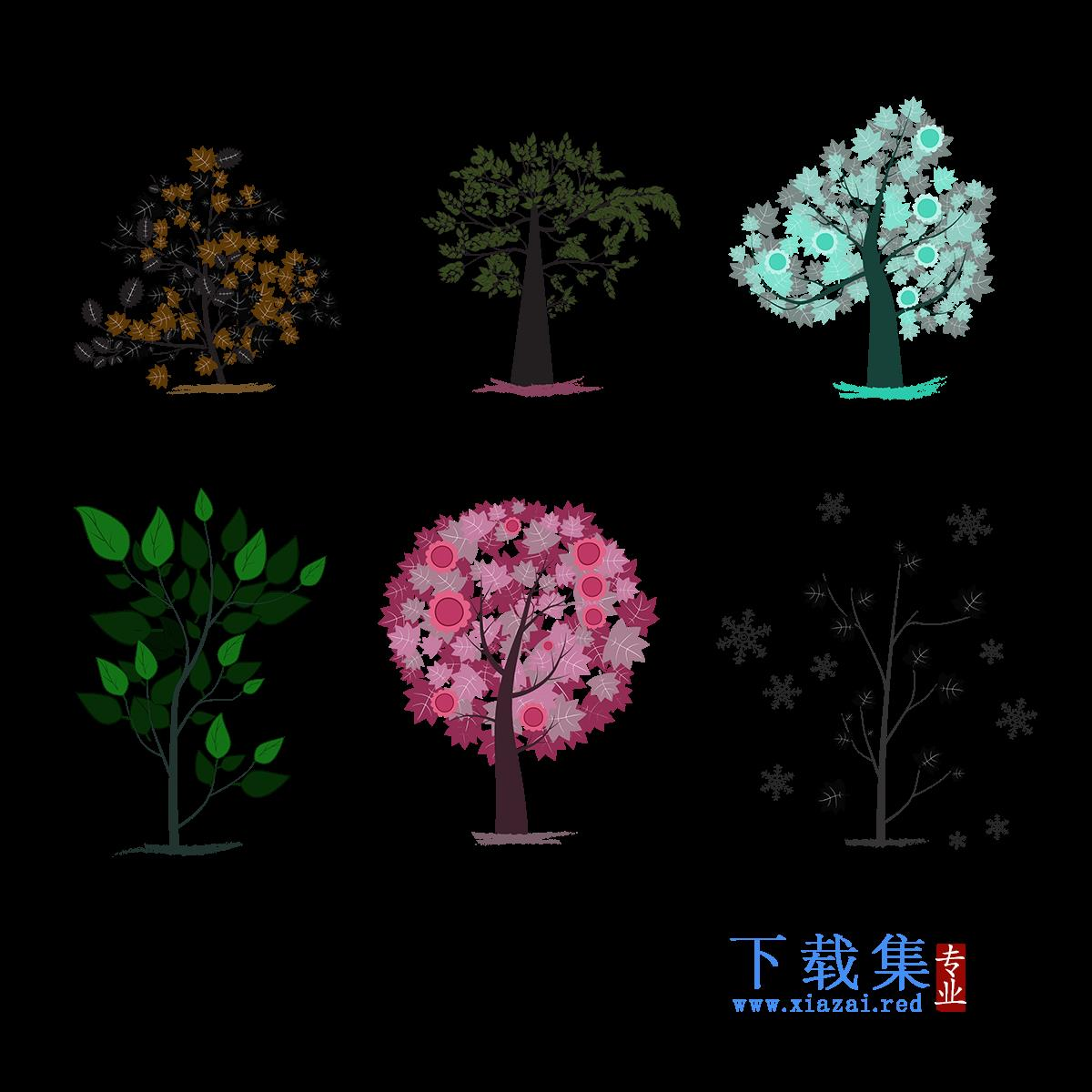 六颗大树矢量素材