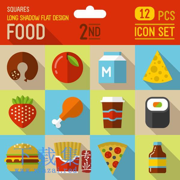 12个食物平面EPS矢量图标集