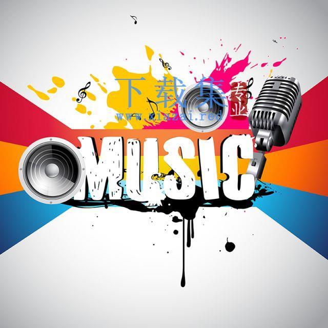 音乐背景素材,扬声器麦克风彩色音乐海报矢量素材