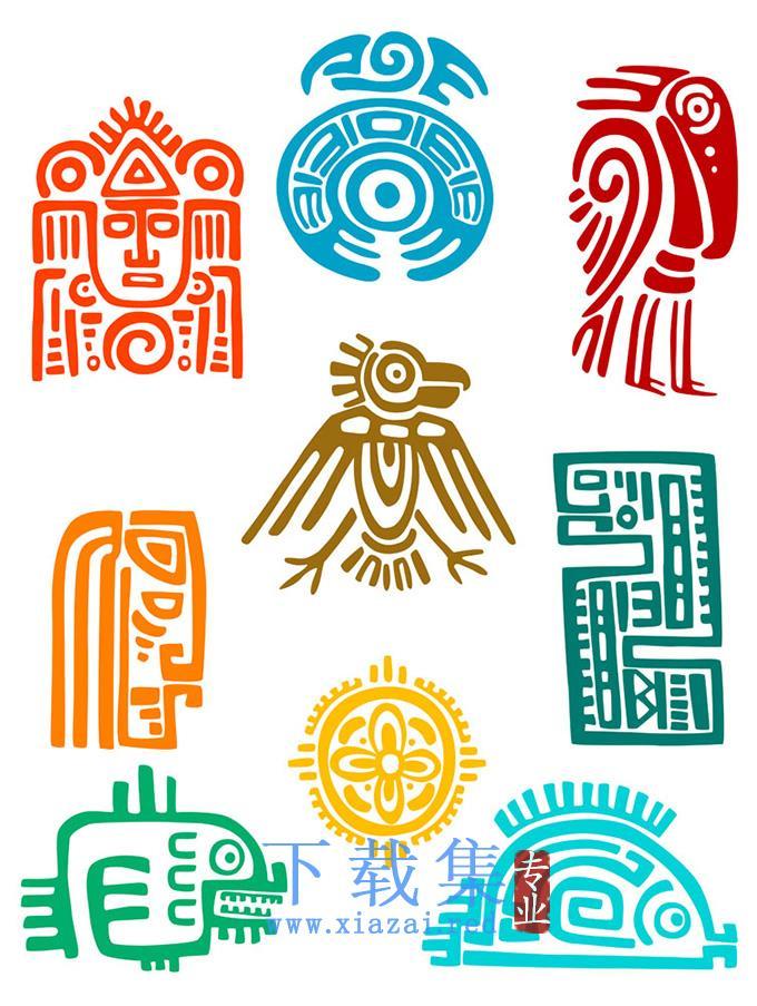 古典玛雅人系列EPS矢量图标  第1张