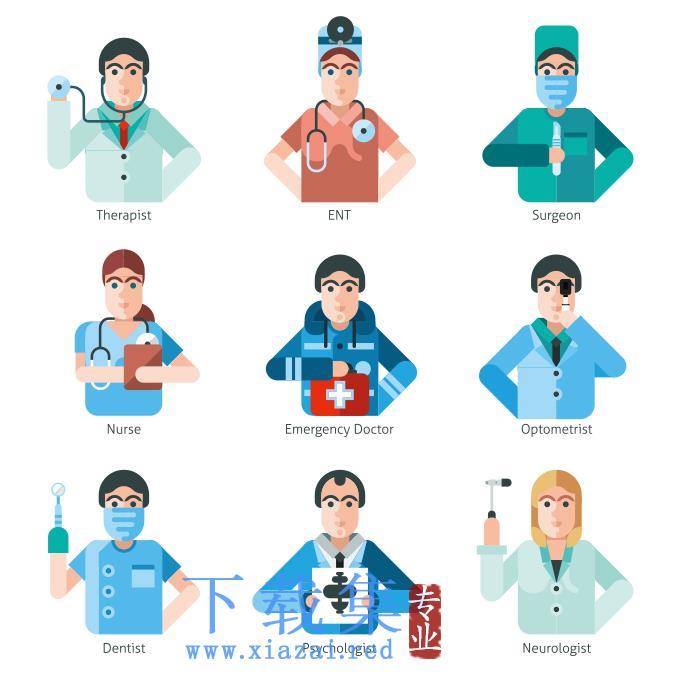 9个医护人员EPS矢量图标2  第1张