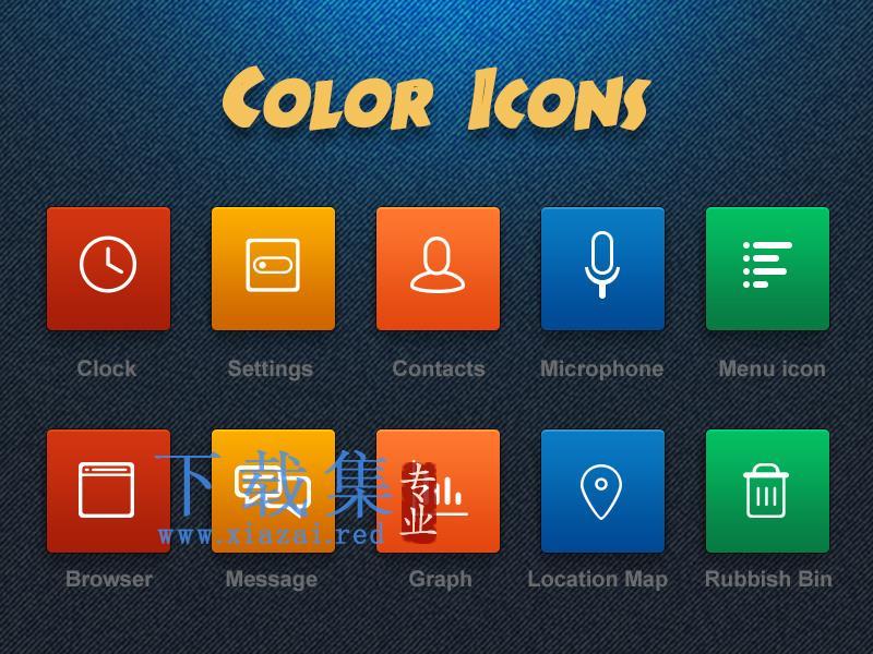 彩色手机主题应用图标PSD模板