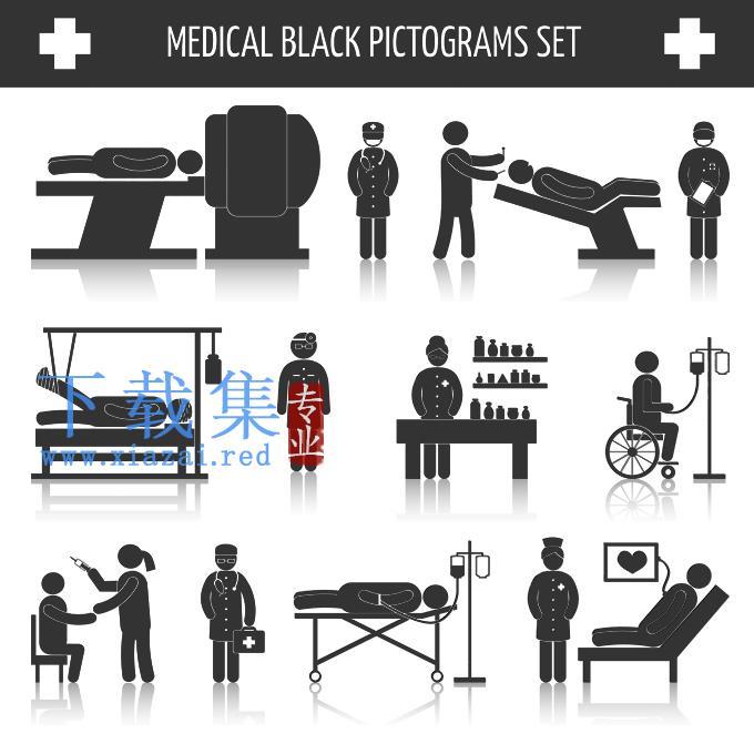 黑色医疗象形图EPS矢量素材