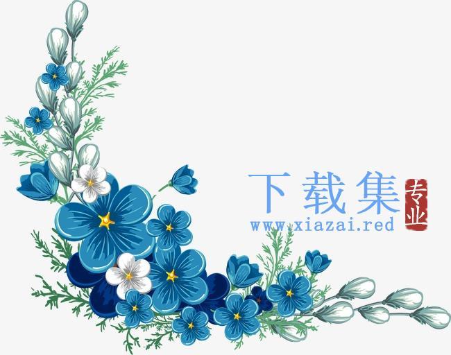 蓝色的花边AI矢量素材