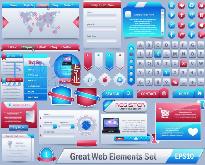 英文网页设计元素EPS模板