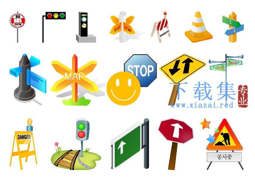 道路维修指示牌及道路障碍标志AI模板