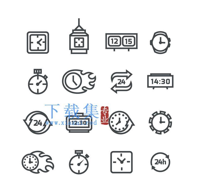 16个黑色时钟钟表图标AI矢量素材