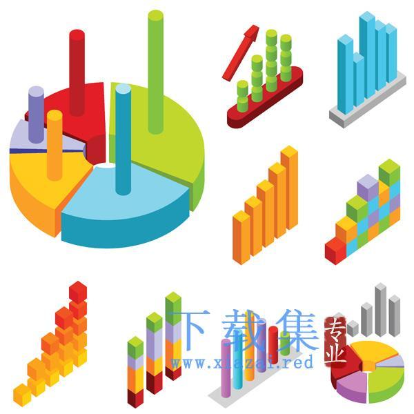 多种颜色的饼图和柱形图数据分析矢量素材