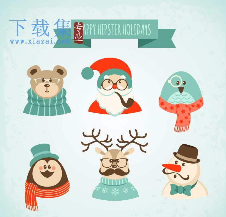 6个圣诞节卡通人物AI矢量素材