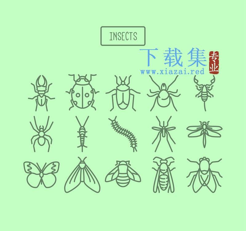 15个线条昆虫图标AI矢量素材