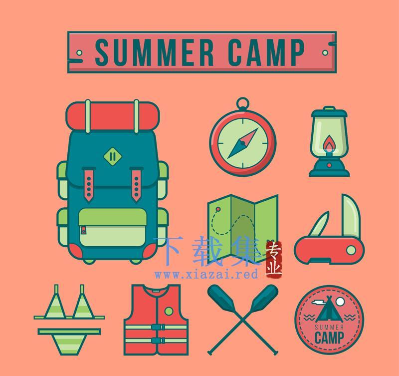 9个夏令营图标,夏季野营AI矢量素材  第1张