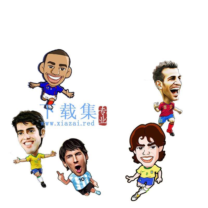 5个卡通足球明星人物PSD分层模板