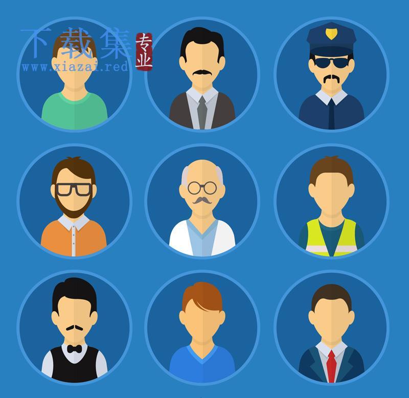 9个卡通职业人物头像AI矢量素材  第1张