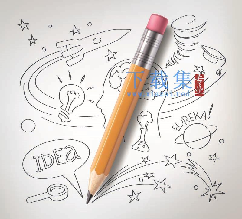 教育科学概念元素铅笔素描矢量素材