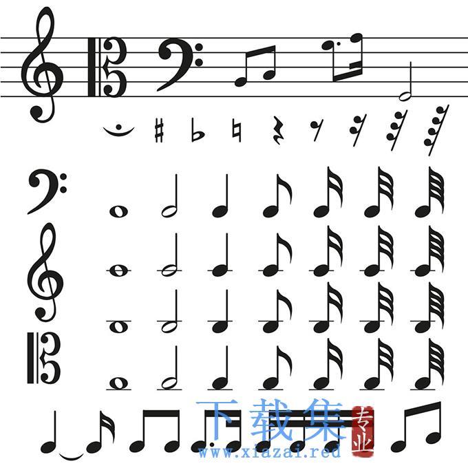 黑色音乐符号EPS矢量素材  第1张