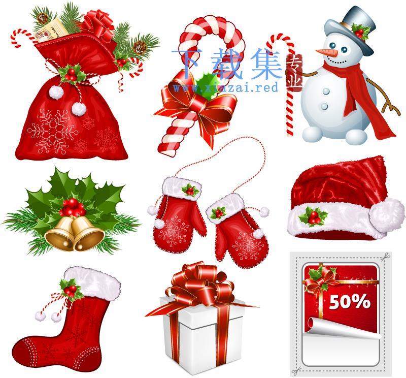 9个红色圣诞节风格EPS矢量图标