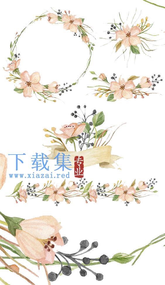 手绘粉色花卉,花,水彩PSD素材