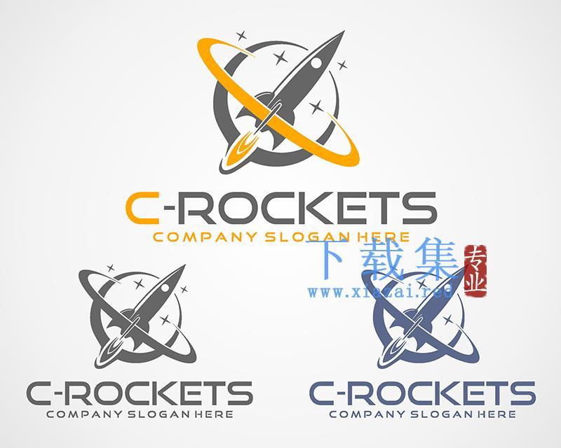 3个火箭发射的LOGO矢量素材  第1张