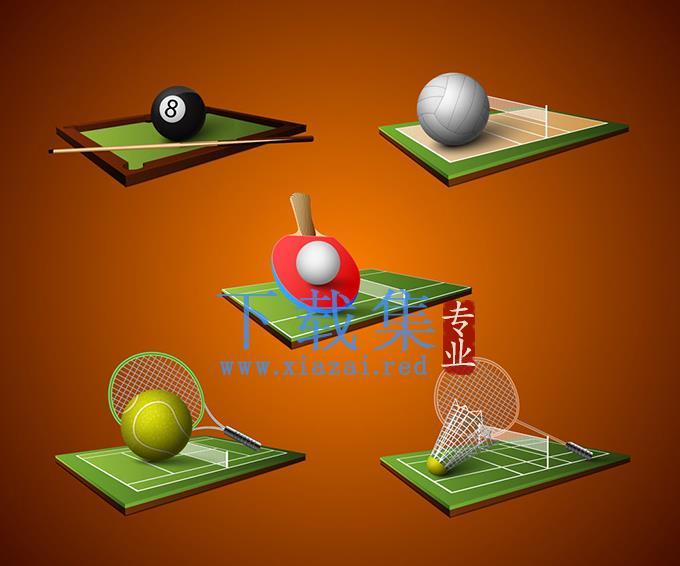 精致的球类体育运动EPS矢量素材  第1张