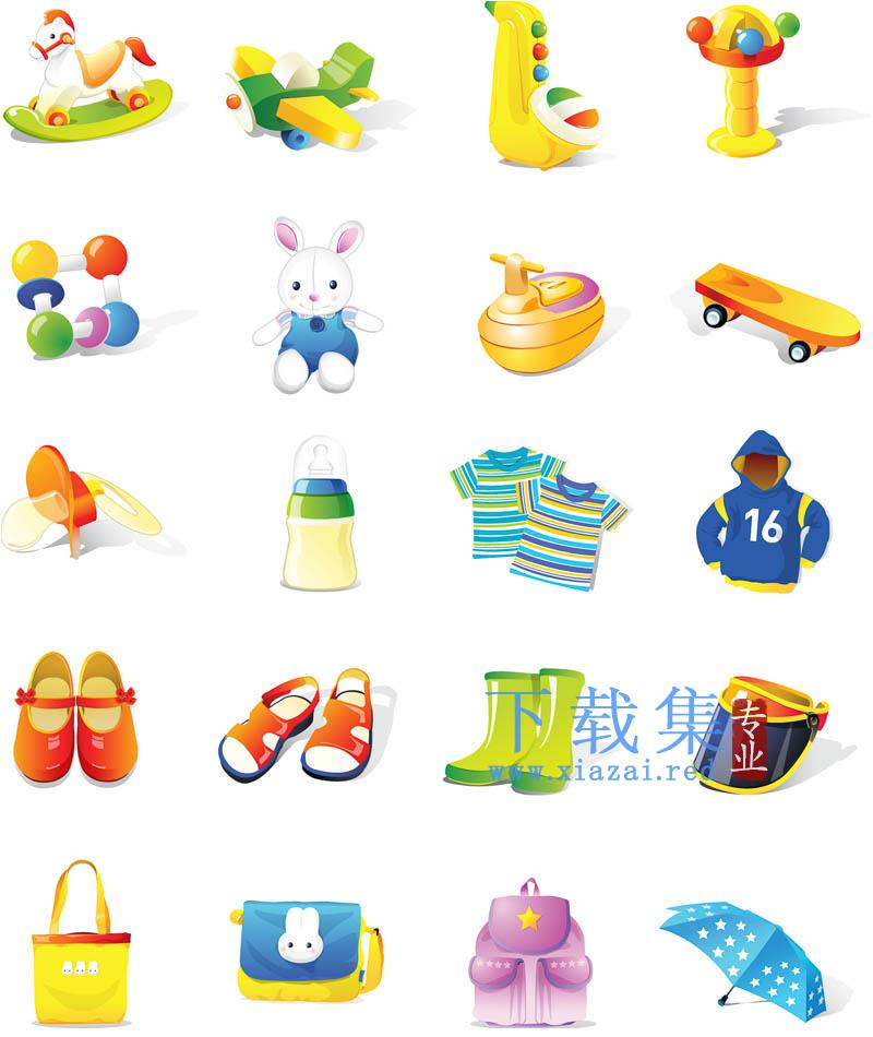 儿童生活用品和玩具插图矢量素材  第1张